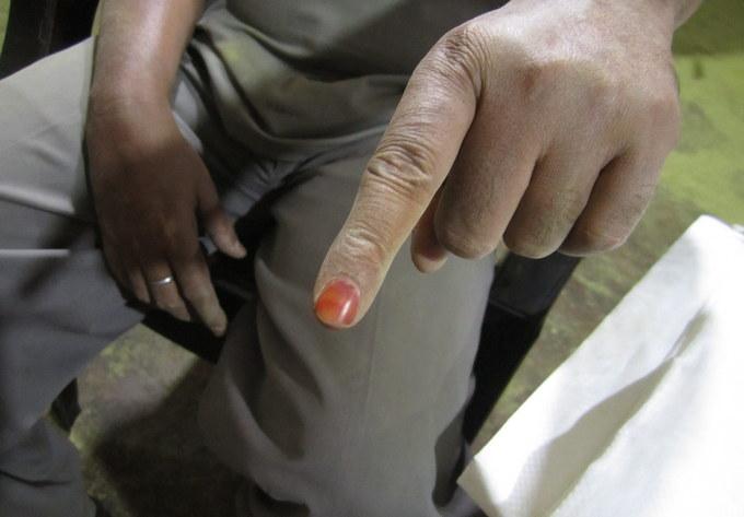 品質確認のための指をヘナで染めた