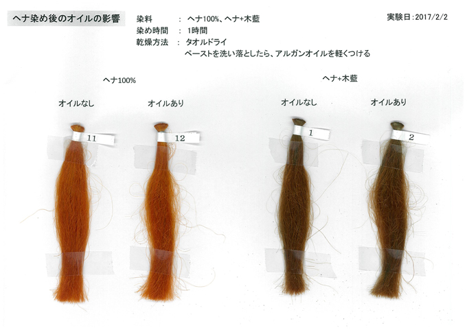 ヘナ染め後のヘアオイルの影響